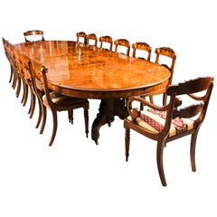 Antique Victorian Burr Marquetry Walnut Dining Table 19th Century and 14 Chairs