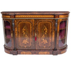 Antique Victorian Burr Walnut and Floral Marquetry Credenza, 19th Century