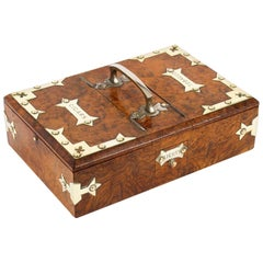 Antique Victorian Burr-Walnut and Brass Mounted Cigar Box, 19th Century