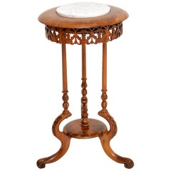 Antique Victorian Burr Walnut and Marble Side Table