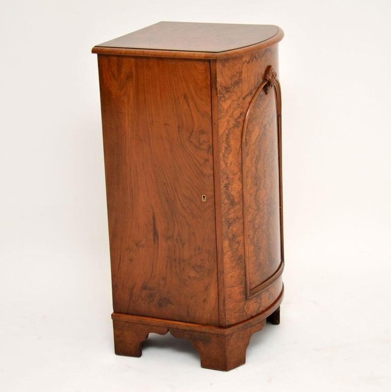 British Antique Victorian Burr Walnut Bedside Cabinet