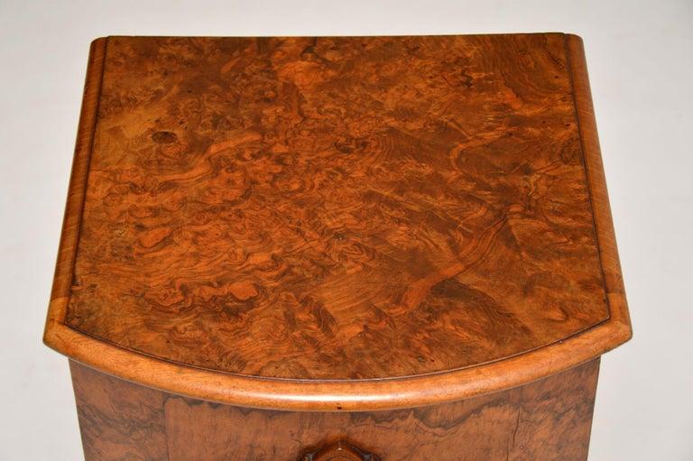 Antique Victorian Burr Walnut Bedside Cabinet 1