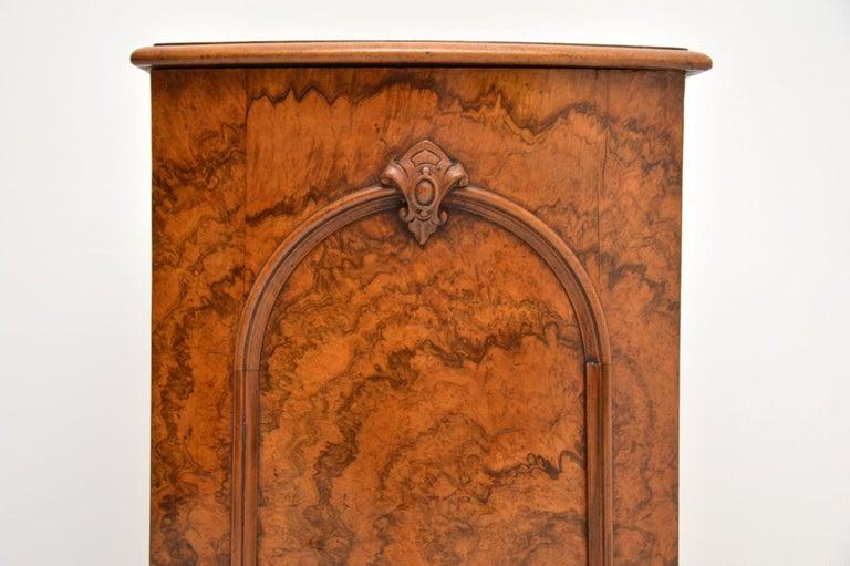 Antique Victorian Burr Walnut Bedside Cabinet 2