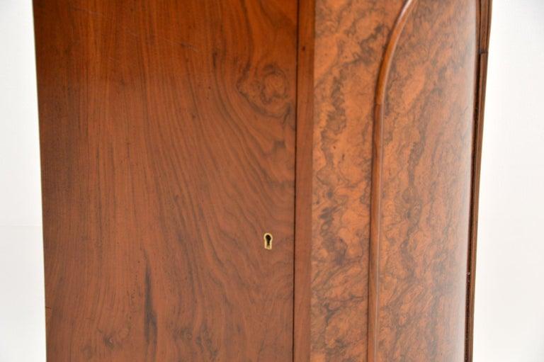 Antique Victorian Burr Walnut Bedside Cabinet 4