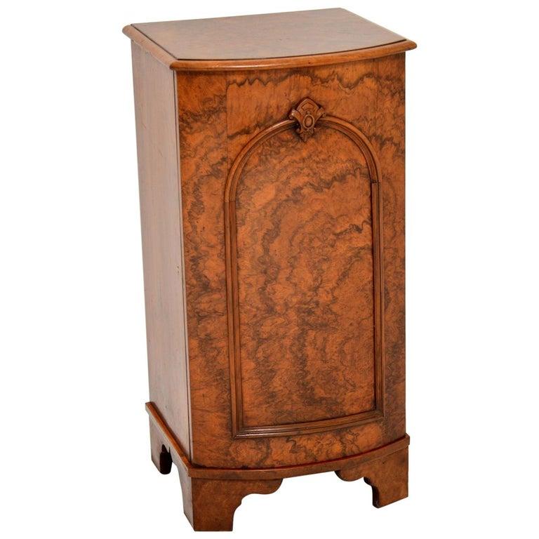 Antique Victorian Burr Walnut Bedside Cabinet