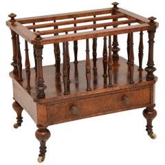 Antique Victorian Burr Walnut Canterbury Magazine Stand