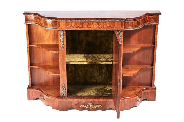 English Antique Victorian Burr Walnut Credenza For Sale