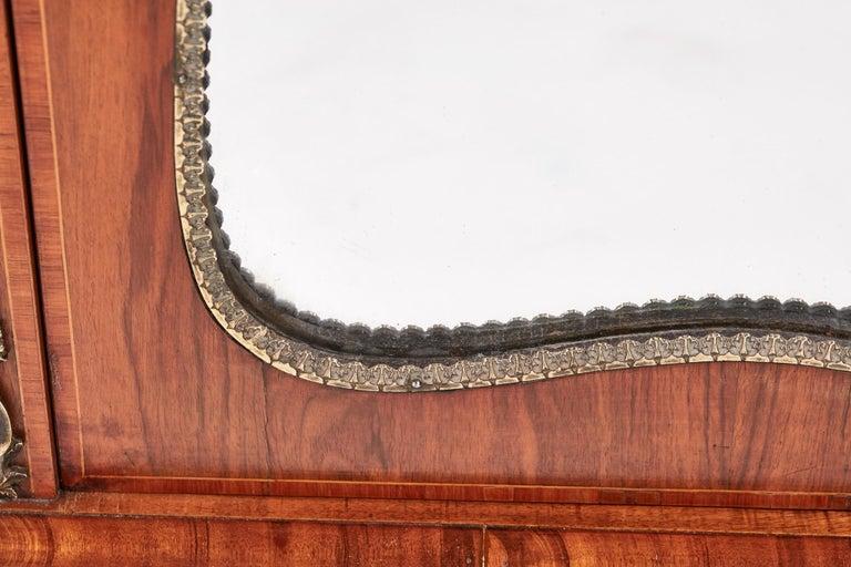 Mirror Antique Victorian Burr Walnut Credenza For Sale
