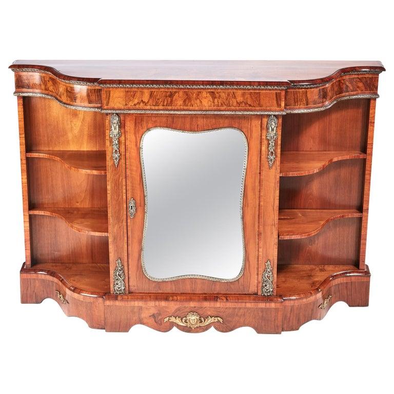 Antique Victorian Burr Walnut Credenza For Sale