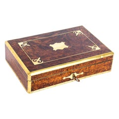 Antique Victorian Burr Walnut and Cut Brass Humidor, 19th Century