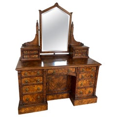 Antique Victorian Burr Walnut Dressing/Vanity Table by Maple & Co., London