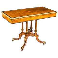 Antique Victorian Burr Walnut & Ebonised Card Table Holland & Sons, 19th Century