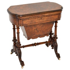 Antique Victorian Burr Walnut Games and Work Table