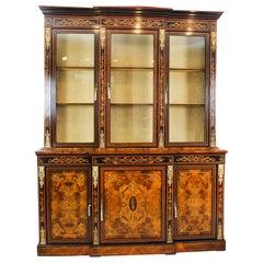 Antique Victorian Burr Walnut Marquetry Bookcase Display Cabinet 19th Century