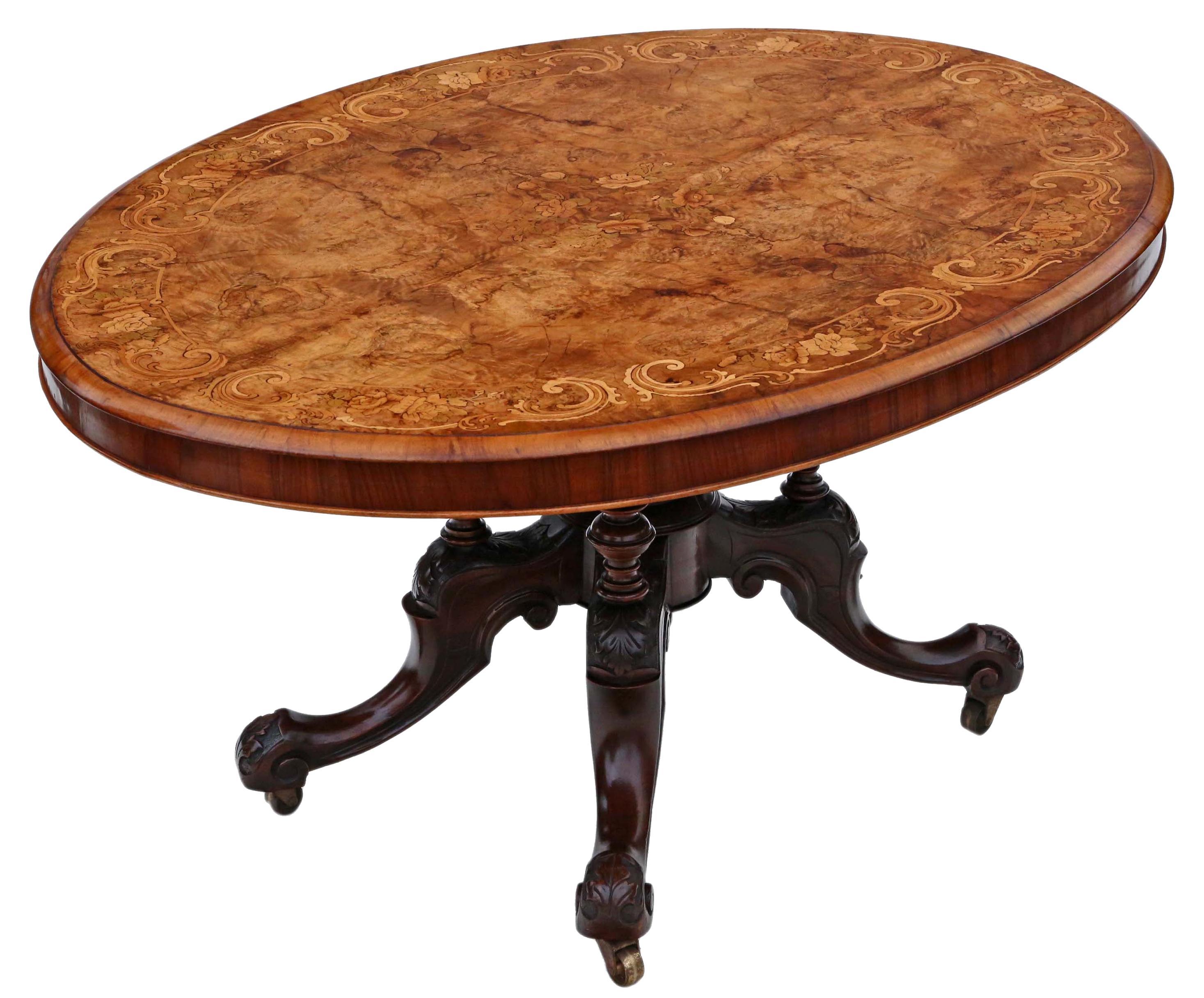 Antique Victorian Burr Walnut Marquetry Oval Loo Breakfast Table Tilt Top