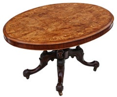 Antique Victorian Burr Walnut Marquetry Oval Loo Breakfast Table Tilt Top