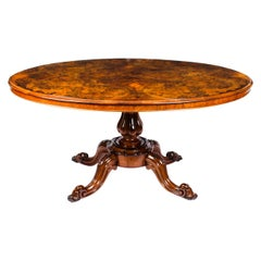 Antique Victorian Burr Walnut Oval Loo Table, 19th Century