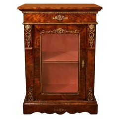 Antique Victorian Burr Walnut Pier Cabinet, 19th Century