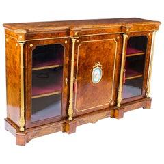 Antique Victorian Burr Walnut Sevres Plaque Credenza Side Cabinet, 19th Century