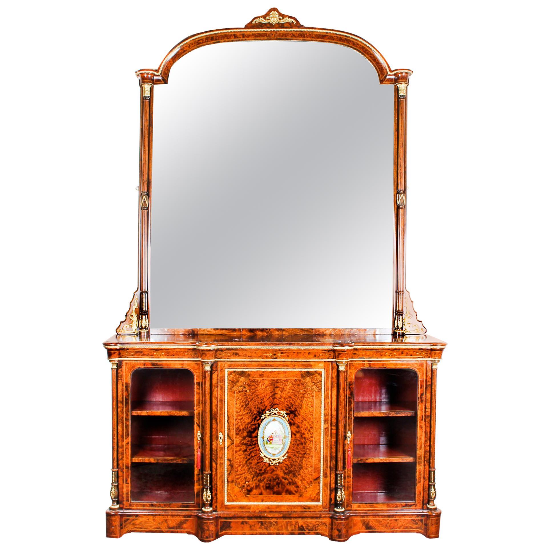 Victorian Burr Walnut Sevres Plaque Mirror Back Credenza Cabinet, 19th Century