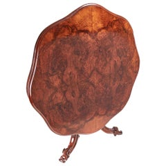 Antique Victorian Burr Walnut Shaped Centre Table