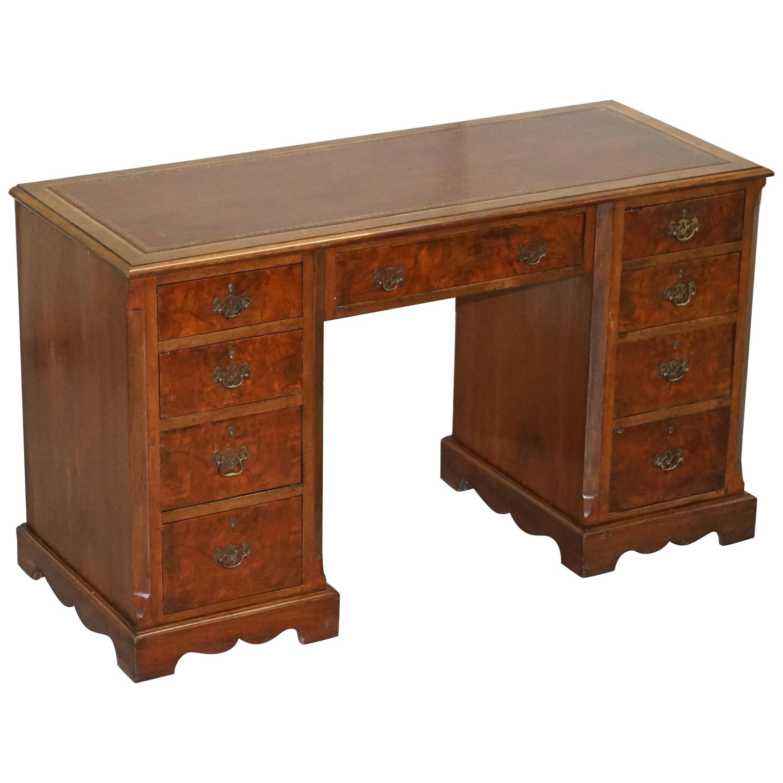 Antique Victorian Burr Walnut Twin Pedestal Partner Desk with Brown Leather Top