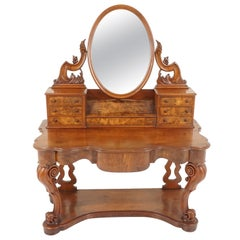 Antique Victorian Burr Walnut Vanity Dressing Table, Scotland, 1870, B2125
