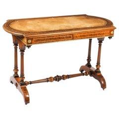 Antique Victorian Burr Walnut Writing Table Desk, 19th C