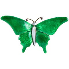 Antique Victorian Butterfly Brooch Green Enamel Ruby Pearl, circa 1890