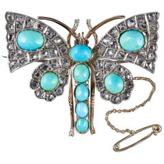 Antique Victorian Butterfly Brooch Turquoise Diamond 18 Carat Gold, circa 1860