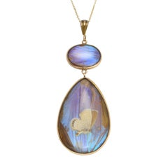 Antique Victorian Butterfly Wing Gold Pendant Necklace