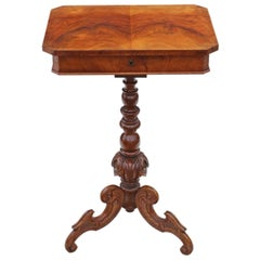 Antique Victorian circa 1860 Burr Walnut Work Side Sewing Table Box