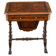 Antique Victorian C1880 Inlaid Burr Walnut Amboyna Work Side Sewing Table Box