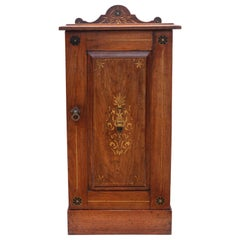 Antique Victorian C 1895 Decorated Ash Bedside Table Cupboard