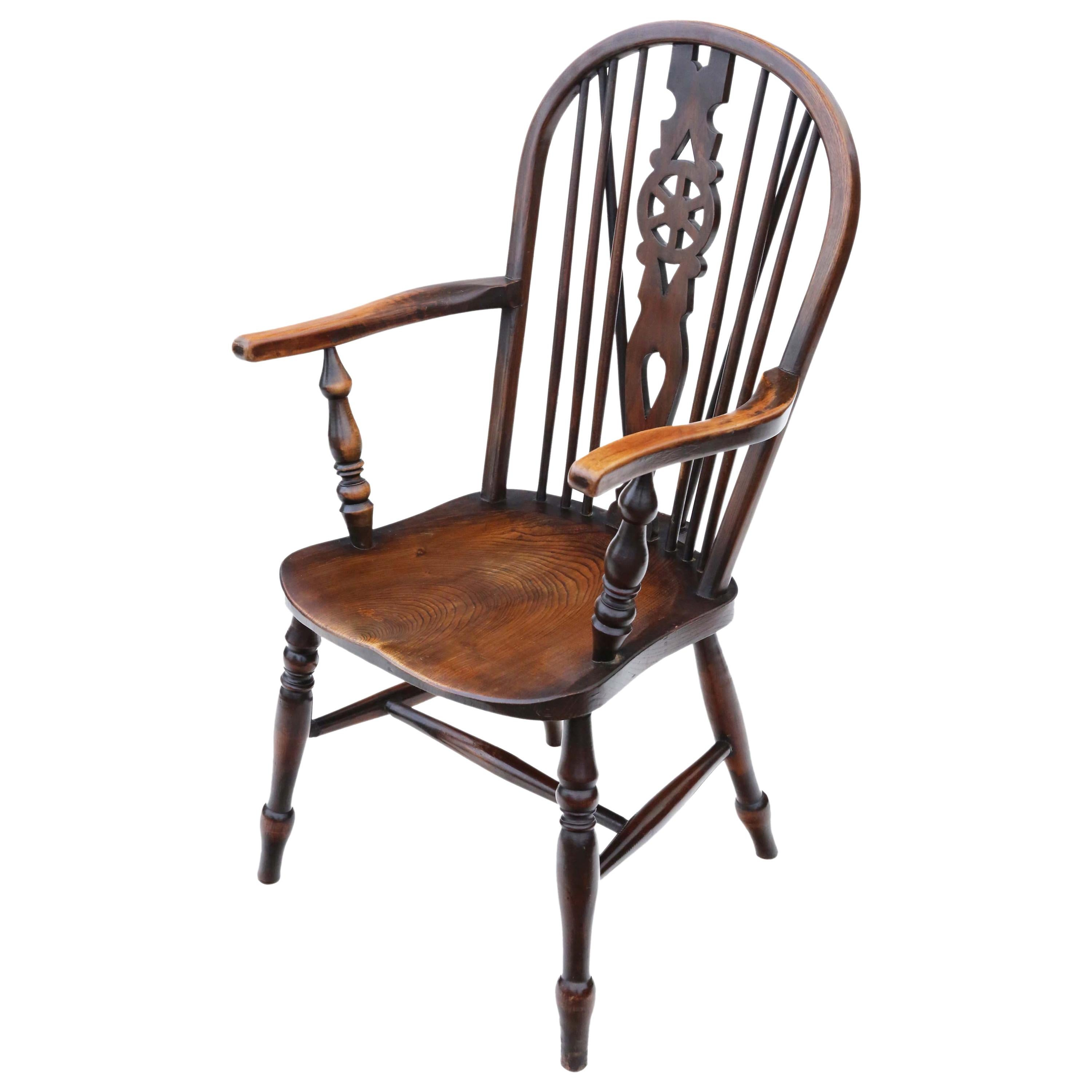 Antique Victorian C1900 Ash and Elm Windsor Chair Wheel Back Dining Armchair