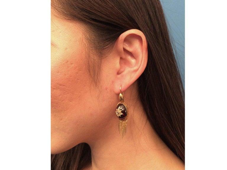 Women's or Men's Antique Victorian Cabochon Garnet Diamond Gold Drop Earrings For Sale