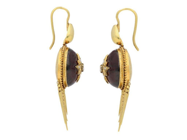 Antique Victorian Cabochon Garnet Diamond Gold Drop Earrings For Sale 1