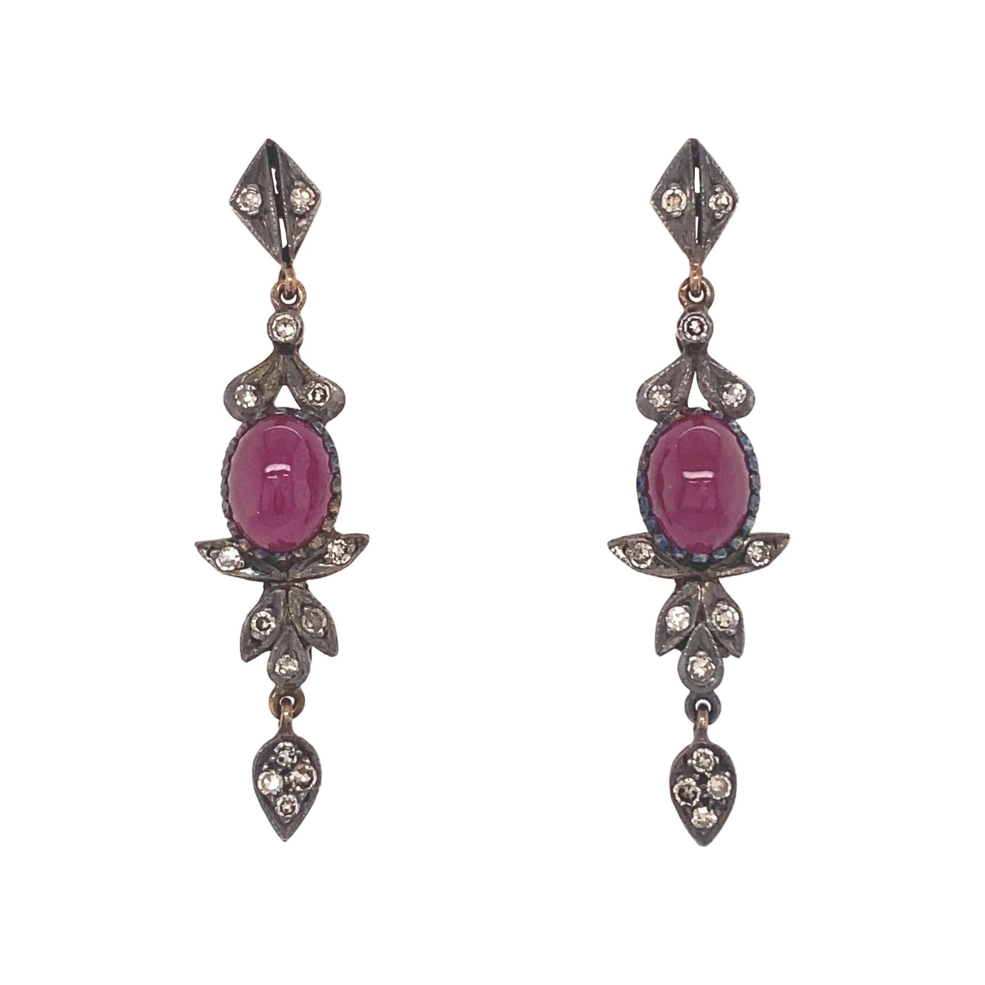Antique Victorian Cabochon Ruby Diamonds Silver 18k Yellow Gold Earrings