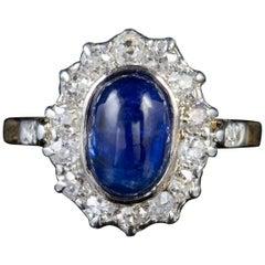 Antique Victorian Cabochon Sapphire Diamond Ring 18 Carat Gold, circa 1880