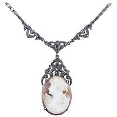 Antique Victorian Cameo Marcasite Necklace Sterling Silver, circa 1900