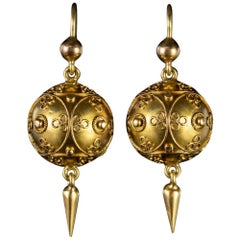 Antique Victorian Cannetille Drop Earrings 18 Carat Gold, circa 1880