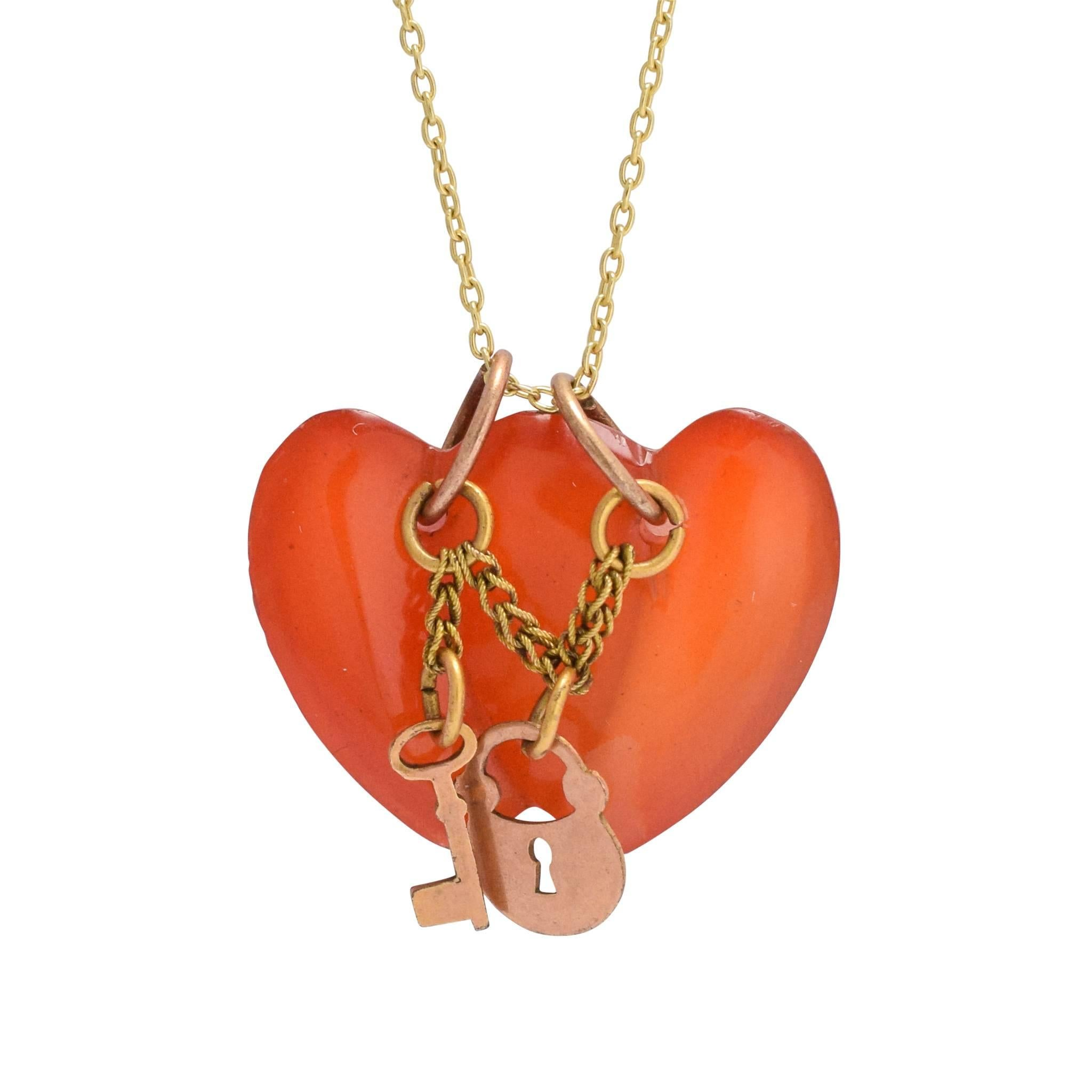 Antique Victorian Carnelian Double Heart Charm Pendant Necklace At 1Stdibs