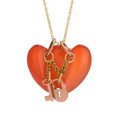Antique Victorian Carnelian Double Heart Charm Pendant Necklace