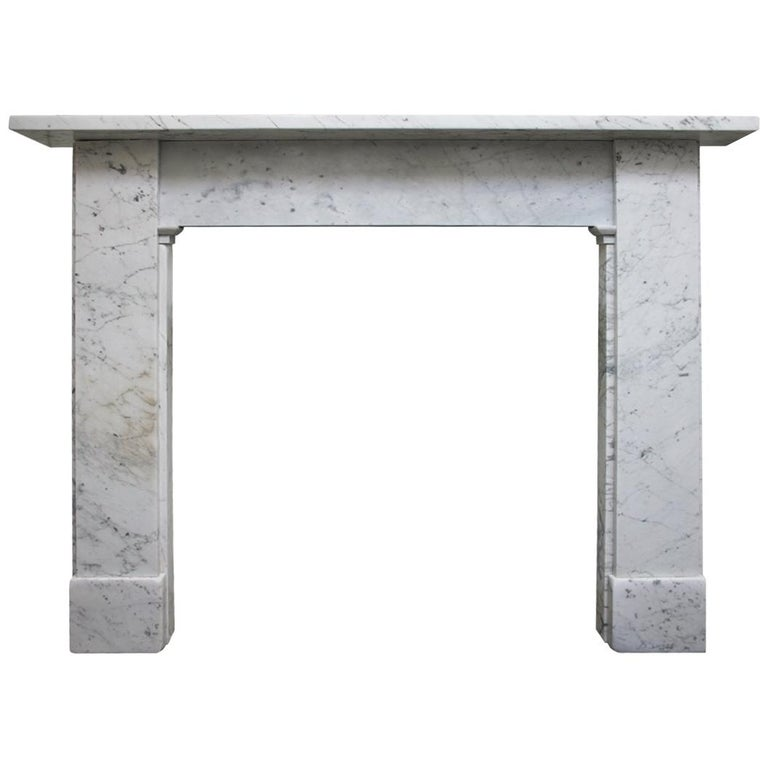 Antique Victorian Carrara Marble Fireplace Surround For Sale