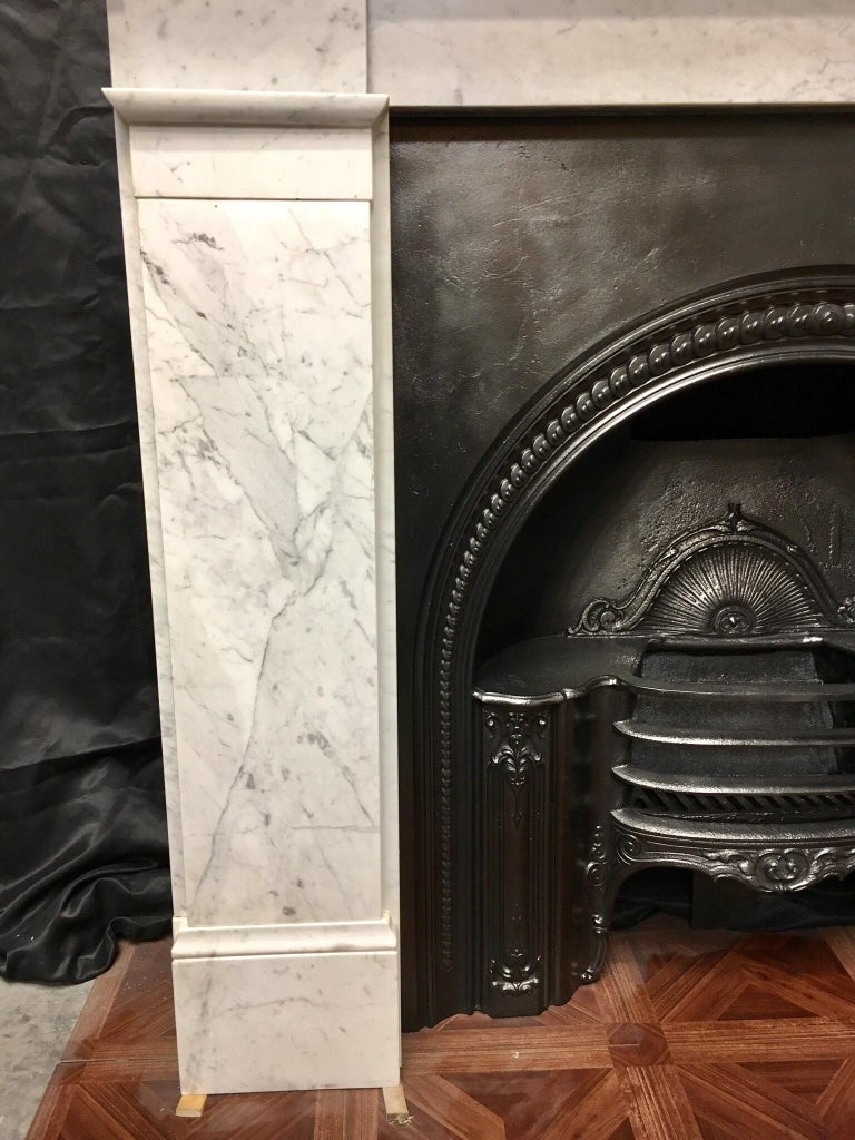 English Antique Victorian Carrara Marble Fireplace Surround For Sale