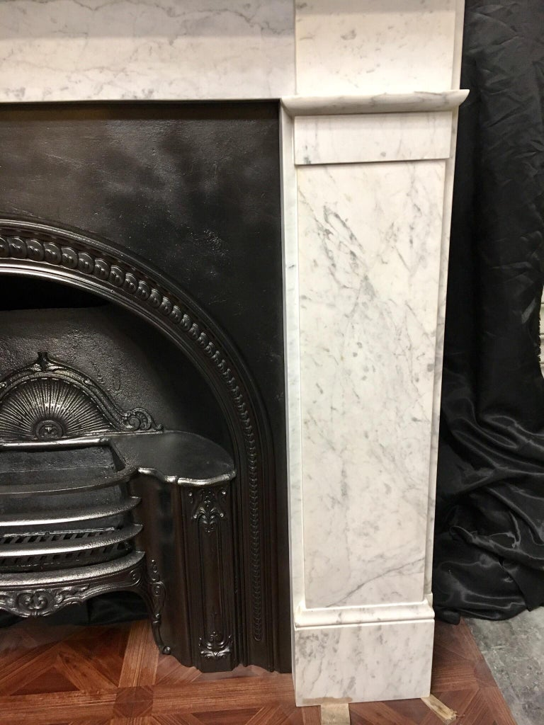 Hand-Crafted Antique Victorian Carrara Marble Fireplace Surround For Sale