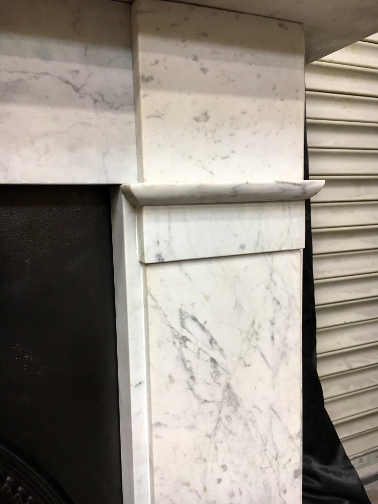 Late 19th Century Antique Victorian Carrara Marble Fireplace Surround For Sale