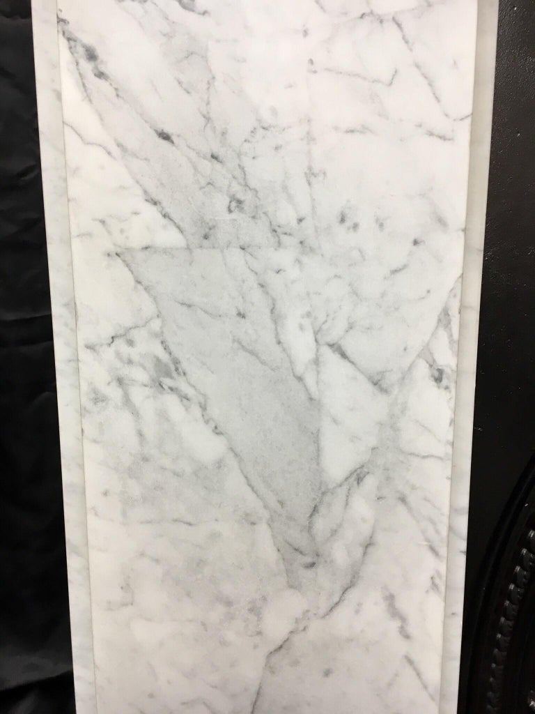 Antique Victorian Carrara Marble Fireplace Surround For Sale 1