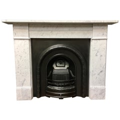 Antique Victorian Carrara Marble Fireplace Surround