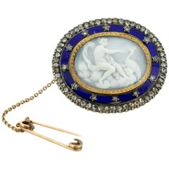 Antique Victorian Carved Cameo and Enamel Brooch with Diamonds, circa 1880s